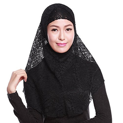 Sanwood Floral Lace Ready to Wear Instant Jersey Hijab Scarf (Black)