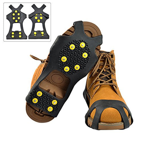 Ice Snow Grips, NATUCE Black Anti Slip Ice Grippers Snow Traction Cleats Rubber Spikes Crampons Slip-on Boots Shoes Cover for Hiking Fishing Climbing, 10-Stud