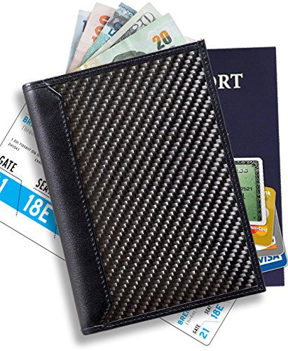 AegisGears RFID Blocking Carbon Fiber Passport Holder Wallet Travel Organizer