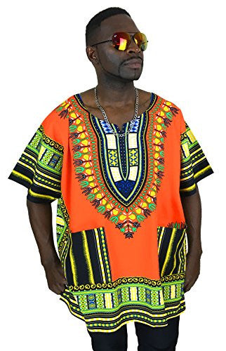 Vipada's Dashiki Shirt African Top Men's Dashiki ORANGE L
