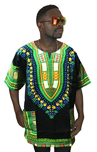 Vipada's Dashiki Shirt African Top Men's Dashiki Black and Green XS