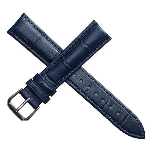 14mm dark blue leather watch band straps replacement for women genuine calfskin alligator grain