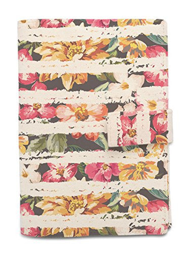 Tropical Flowers Stripes Beige Printed Canvas Passport Holder Cover Case WAS_11