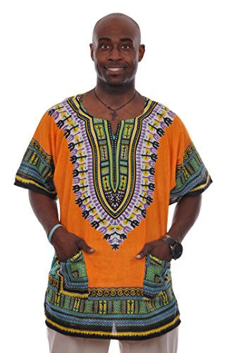 Orange African Print Dashiki Shirt (L)