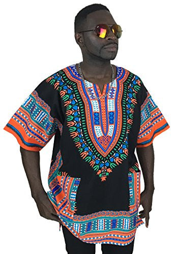 Vipada's Dashiki Shirt African Top Men's Dashiki Black and Orange L