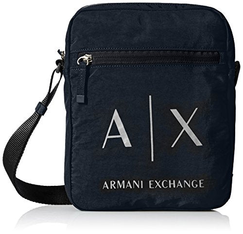 Armani Exchange Men's Light Weight Crinkle Nylon Logo Crossbody Satchel Bag
