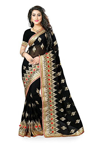 Odhni Women's Indian Bollywood Designer Partywear Traditional Georgette Black Saree