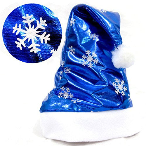 Fashion Adult Christmas Party Santa Hat Blue And White for Santa Claus Costume