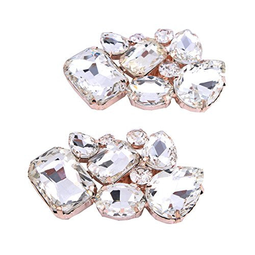 FUMUD Shoes Dress Hat Bag Accessories Rhinestones Crystal Shoe Clips 1pair (1#)