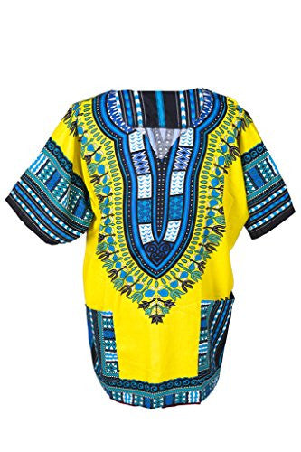 Lofbaz Traditional African Print Unisex Dashiki Size S Yellow