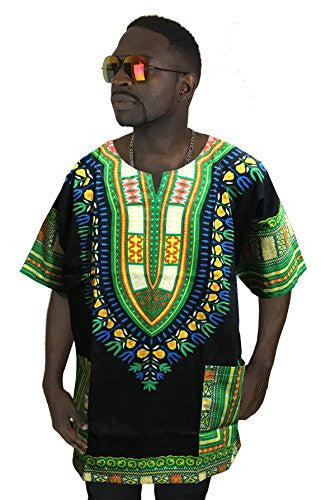 Dashiki Shirt Men's Dashiki African Shirt Large Size Several Colors (Black and Green)