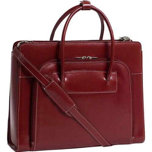 "15.4"" Lake Forest Leather Ladies' Briefcase with Removable Sleeve-Red"