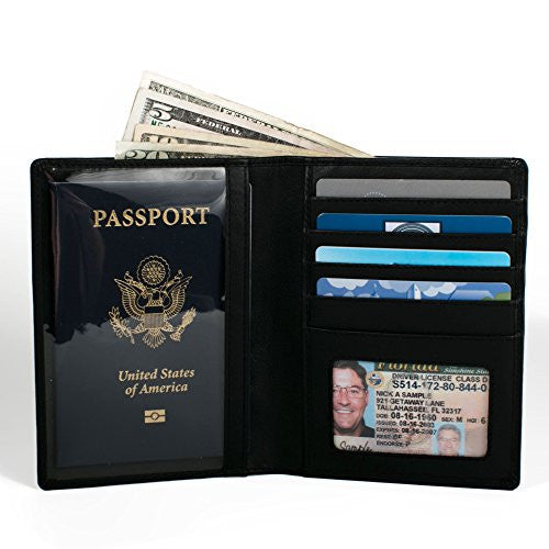 RFID Leather Passport Wallet - RFID Blocking Wallets - Genuine Leather Passport Holders (Black)