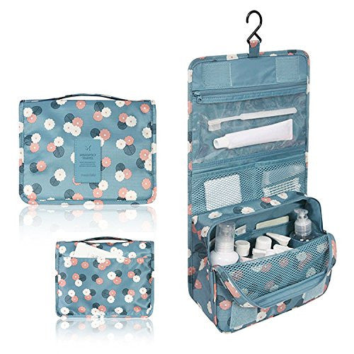 Hanging Toiletry Kit Clear Travel BAG Cosmetic Carry Case Toiletry (Flower in Sky Blue)
