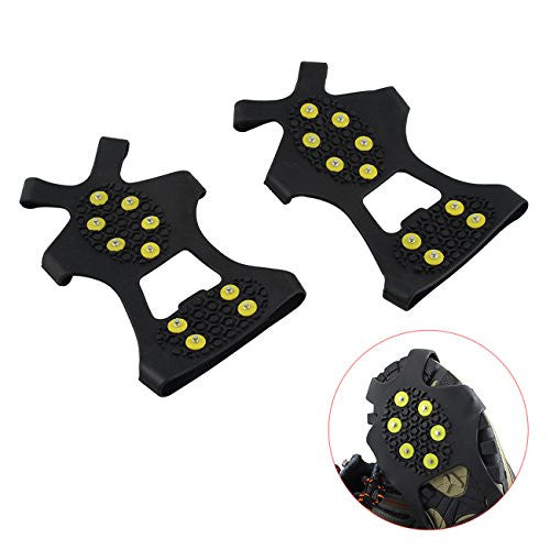 Tera 1 Pair Ice Snow Shoe Spikes Grips Crampons Cleats Anti Slip 10-Teeth for Hiking Climbing M