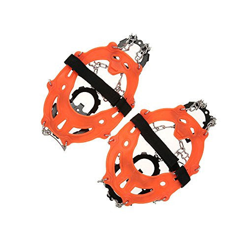 14 Teeth Manganese Steel Crampons Nylon Strap Non-slip Shoes Cover Outdoor Ski Ice Snow Walking Crampon - Orange
