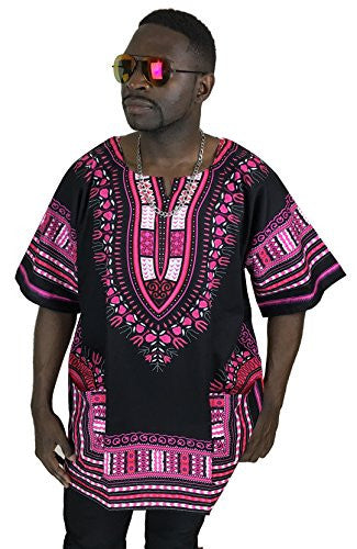 Dashiki Shirt African Caftan Kaftan Angelina Print Several Colors (Black with Pink)