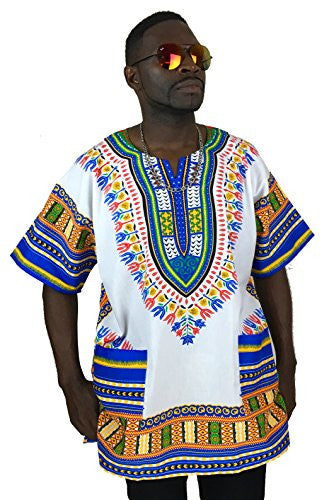 Vipada's Dashiki Shirt African Top Men's Dashiki White and Blue L