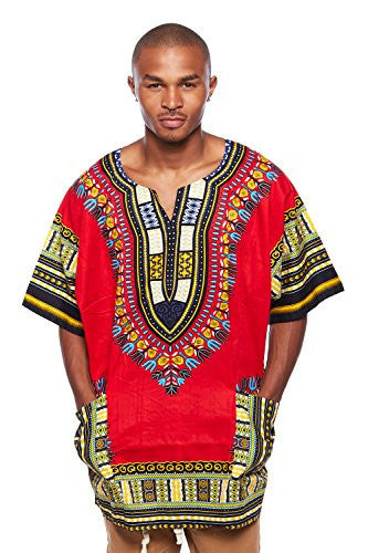 Mens Traditional African Swag Fashion Print Dashiki Top (One Size, Red/Black)