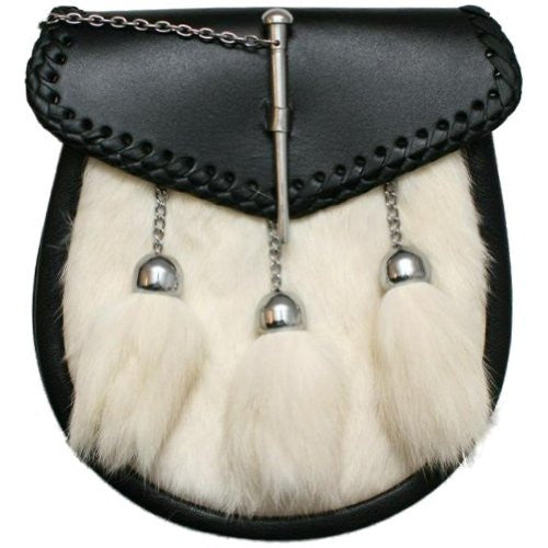 Scottish Kilt Sporran/Pouch Pin Lock White Rabbit Fur