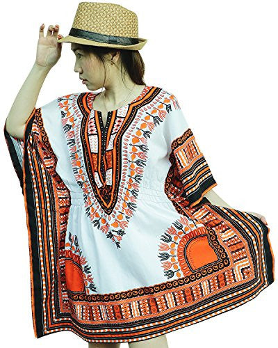 Ornatcha Pha Fai African Dashiki DressElastics around the waist (White and Orange)