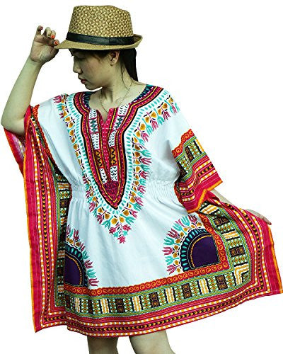 Ornatcha Pha Fai African Dashiki DressElastics around the waist (White Pink Purple)