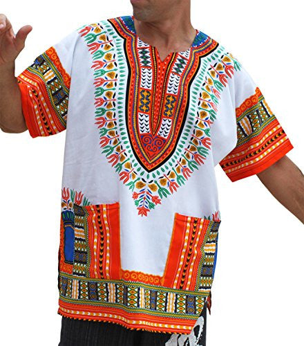 RaanPahMuang Brand Unisex Bright African White Dashiki Cotton Shirt #70 Light Orange XX-Large