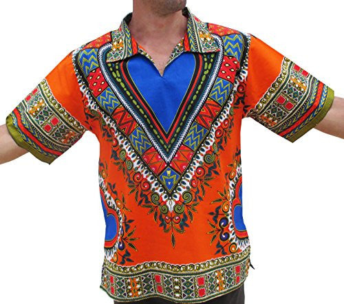 RaanPahMuang European Poets Collar Short Sleeve Shirt African Heart Dashiki Art, X-Large, Orange