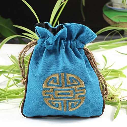 Happu-store(TM) 1 Pcs National Style Jewelry Bag Double Sided Embroidery Ethnic Exotic Pouch