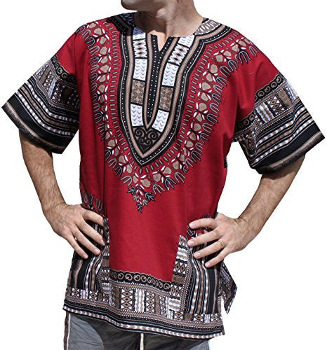 RaanPahMuang Unisex Bright Coloured African Dashiki Cotton Plus Shirt, XXX-Large, Dark Red Brown