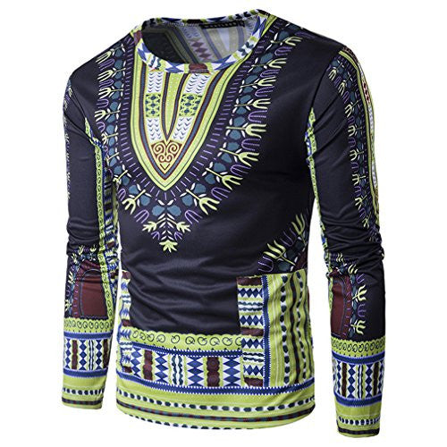Mens Slim Fit Cotton Traditional African Clothing Dashiki T Shirts Wear XL Yellow