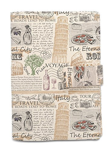 Rome Newspaper Beige Printed Canvas Vintage Passport Holder Cover Case WAS_11