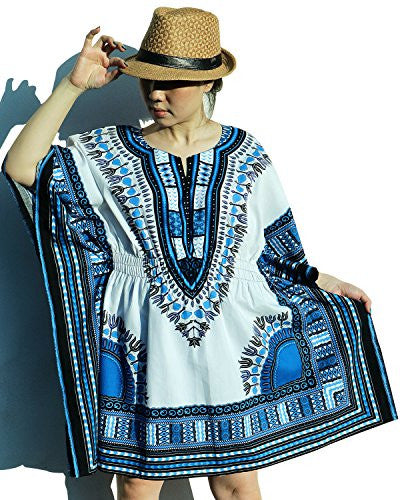Ornatcha Pha Fai African Dashiki DressElastics around the waist (White and Blue)