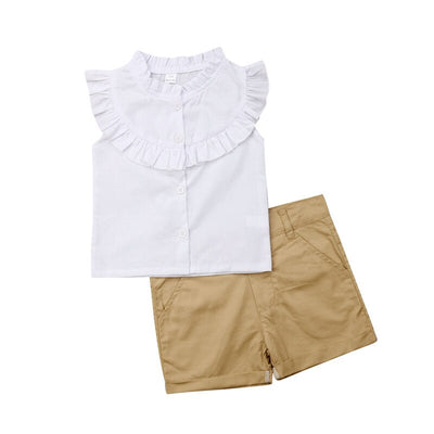 Ensemble White Ruffle Blouse Beige Short