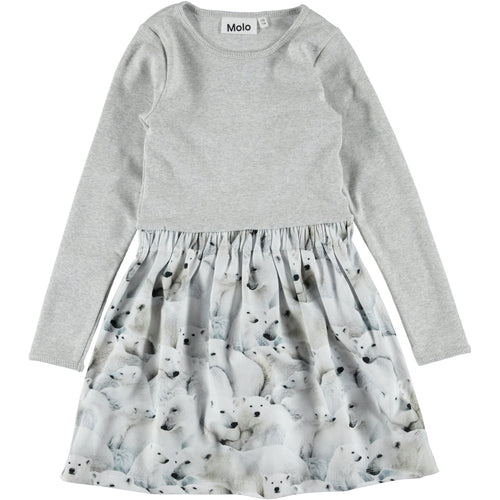 Molo Credence Dress Polar Bear Jersey-Dress-MOLO- babies, kids and moms fashion, decor and accessories at Modern Kids Society USA