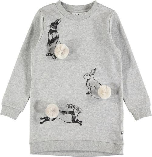 Molo Cassia Dress Grey Melange-Dress-MOLO- babies, kids and moms fashion, decor and accessories at Modern Kids Society USA
