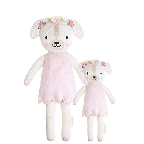 "CUDDLE + KIND Charlotte The Dog Little 13"" Hand-Knit Doll – 1 Doll = 10 Meals, Fair Trade, Heirloom Quality, Handcrafted in Peru, 100% Cotton Yarn"