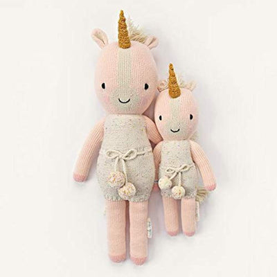 "CUDDLE + KIND Ella The Unicorn Little 13"" Hand-Knit Doll – 1 Doll = 10 Meals, Fair Trade, Heirloom Quality, Handcrafted in Peru, 100% Cotton Yarn"