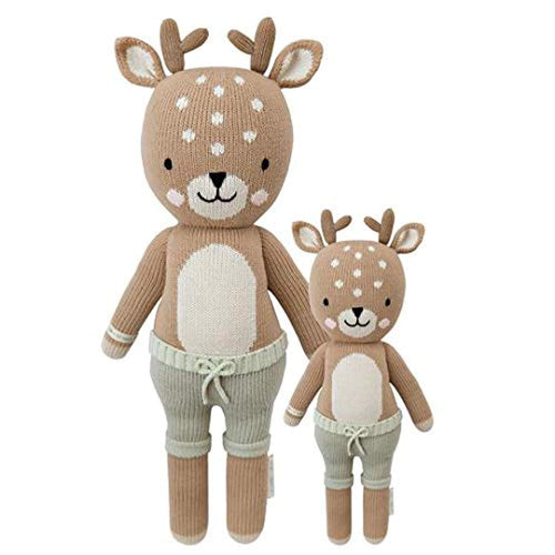 "CUDDLE + KIND Elliott The Fawn Little 13"" Hand-Knit Doll – 1 Doll = 10 Meals, Fair Trade, Heirloom Quality, Handcrafted in Peru, 100% Cotton Yarn"