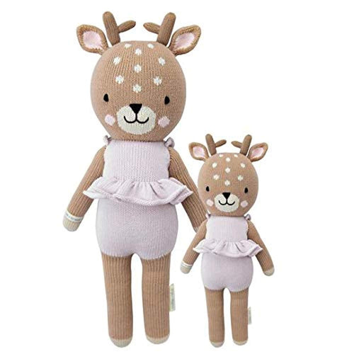 "CUDDLE + KIND Violet The Fawn Little 13"" Hand-Knit Doll – 1 Doll = 10 Meals, Fair Trade, Heirloom Quality, Handcrafted in Peru, 100% Cotton Yarn"