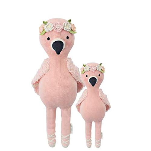 "CUDDLE + KIND Penelope The Flamingo Little 13"" Hand-Knit Doll – 1 Doll = 10 Meals, Fair Trade, Heirloom Quality, Handcrafted in Peru, 100% Cotton Yarn"
