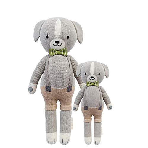 "CUDDLE + KIND Noah The Dog Little 13"" Hand-Knit Doll – 1 Doll = 10 Meals, Fair Trade, Heirloom Quality, Handcrafted in Peru, 100% Cotton Yarn"