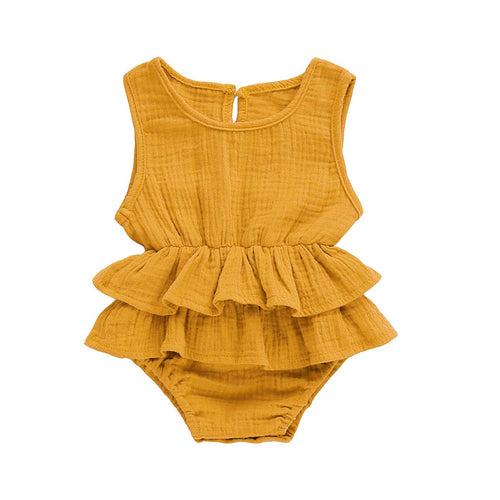 Ruffle Jumpsuit Cotton Linen Mustard Yellow