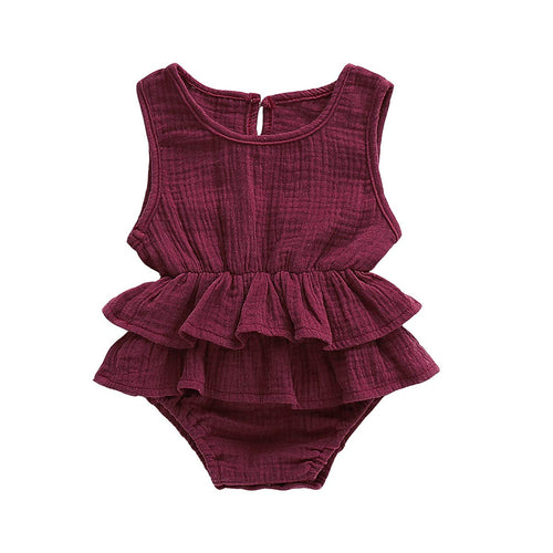 Ruffle Jumpsuit Cotton Linen Wine
