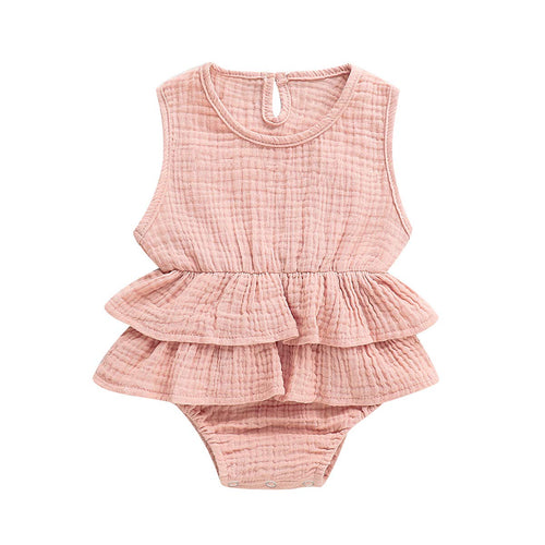 Ruffle Jumpsuit Cotton Linen Bush Pink