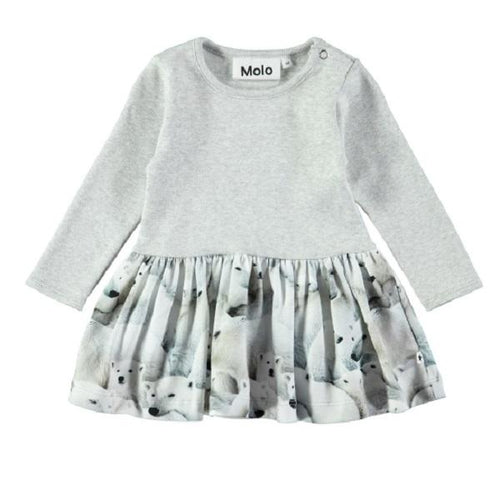 Molo Carel Dress Polar Bear Jersey-Dress-MOLO- babies, kids and moms fashion, decor and accessories at Modern Kids Society USA