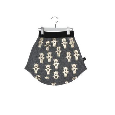 Huxbaby Soldier Bears Drop Back Skirt Charcoal Slub/Gold-SKIRT-HUXBABY- babies, kids and moms fashion, decor and accessories at Modern Kids Society USA
