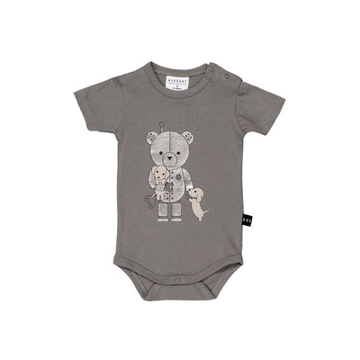Huxbaby Robo Puppy Onesie Stone-Onesie-HUXBABY- babies, kids and moms fashion, decor and accessories at Modern Kids Society USA