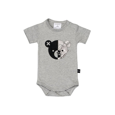 Huxbaby Robo Bear Onesie Grey Marle-onesie-HUXBABY- babies, kids and moms fashion, decor and accessories at Modern Kids Society USA