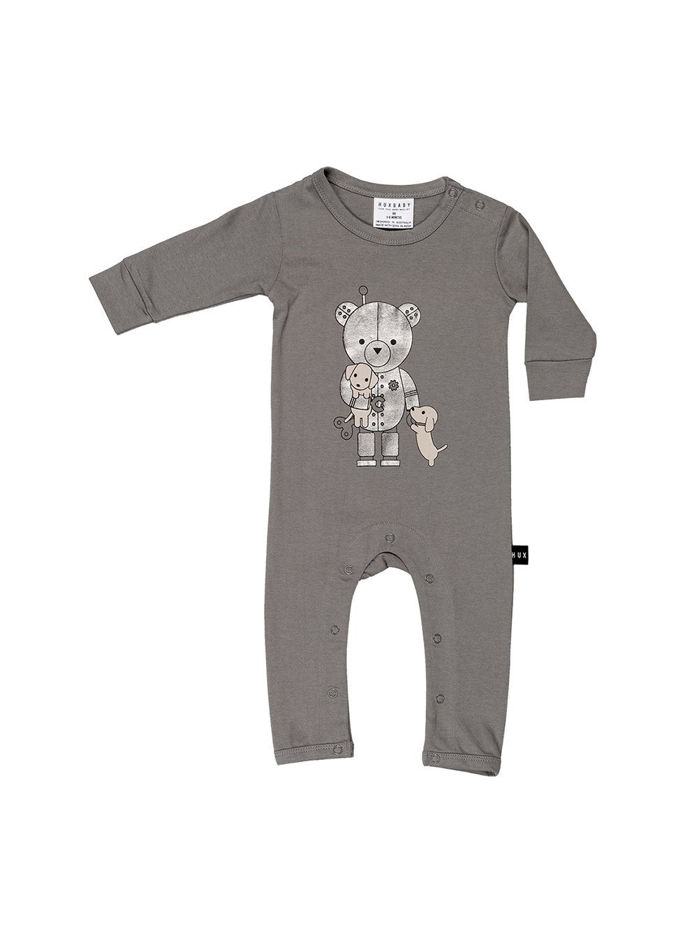 Huxbaby Robo Puppy Romper Stone-Romper-HUXBABY- babies, kids and moms fashion, decor and accessories at Modern Kids Society USA